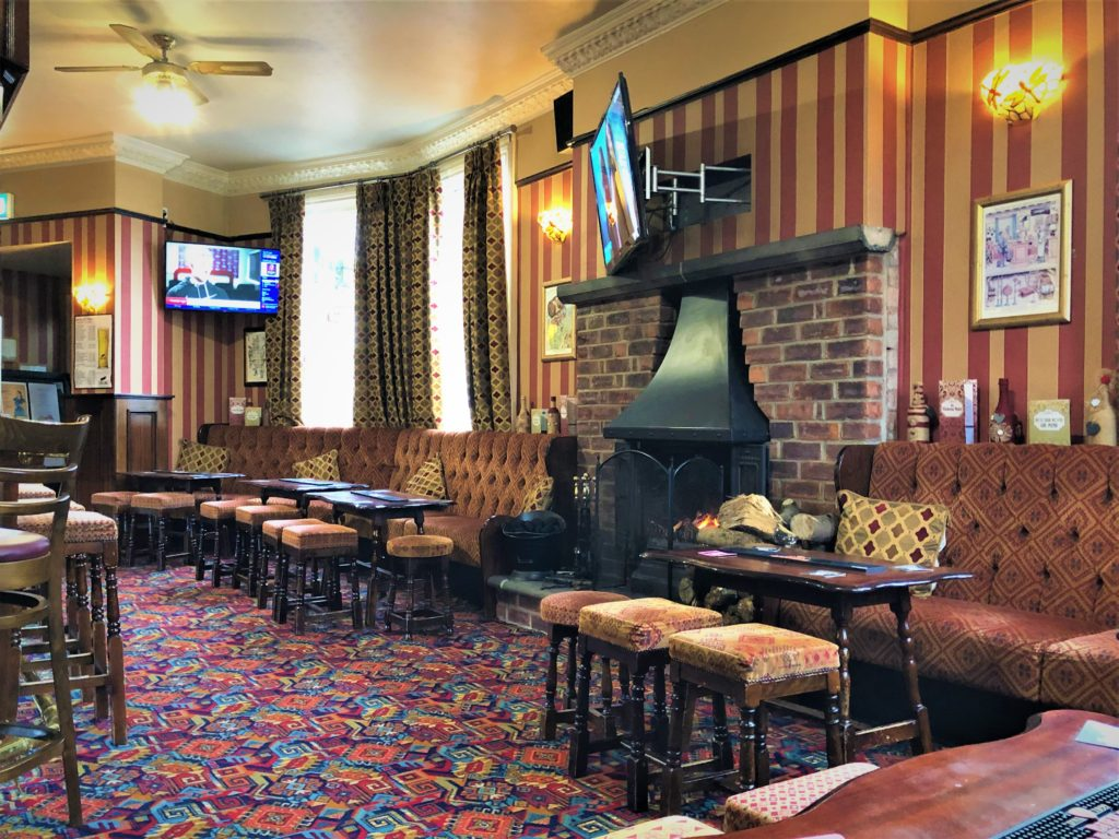 pub interior and real fire at the Victoria Pub Allerton Bywater