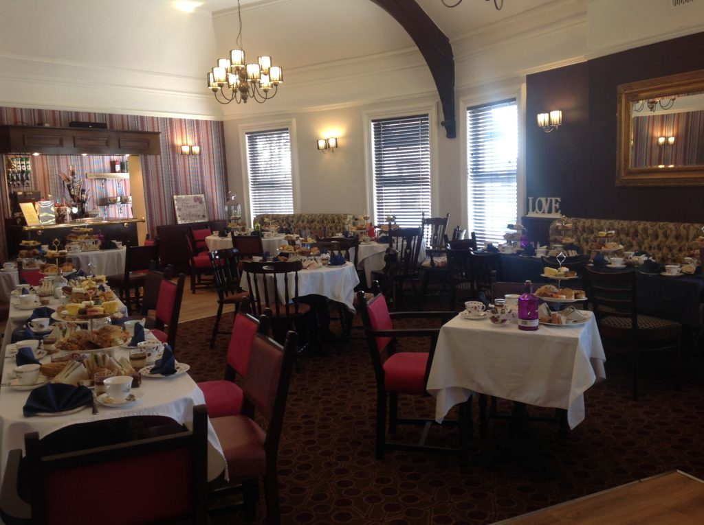 Function room set up for afternoon tea at the Victoria Pub Allerton Bywater