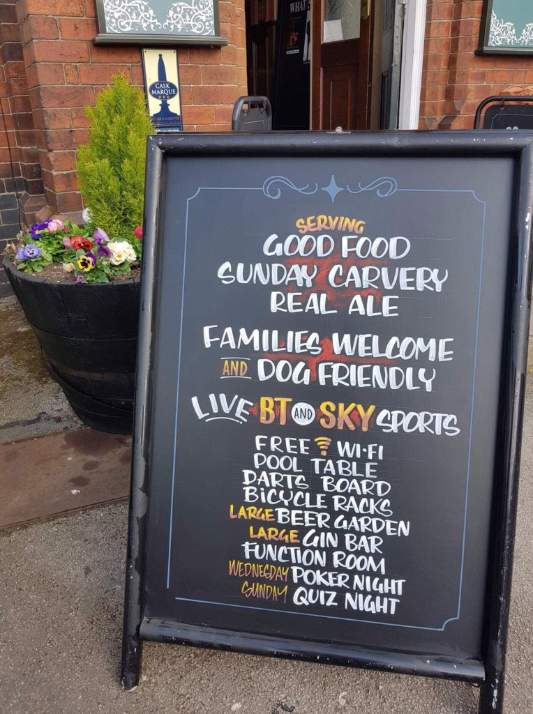 Chalkboard with details of all events at the Victoria Pub Allerton Bywater