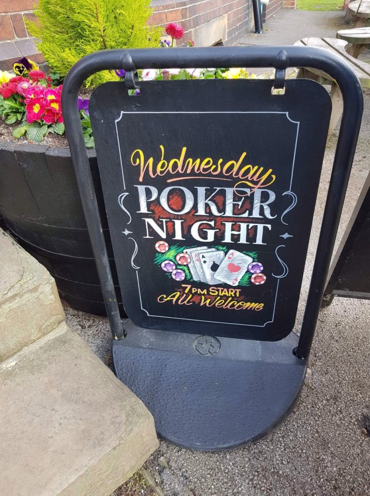 Chalkboard with poker night details at the Victoria Pub Allerton Bywater