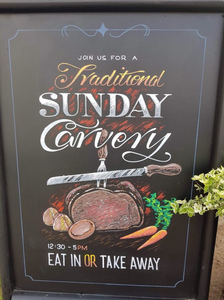 Chalkboard with Sunday Carvery Details at the Victoria Pub Allerton Bywater