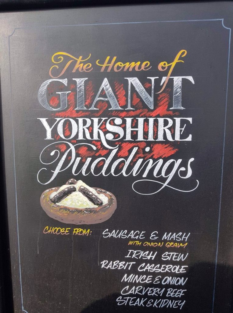 Chalkboard with Giant Yorkshire Puddings offer at the Victoria Pub Allerton Bywater